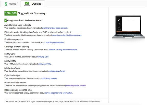 Resultado desktop PageSpeed Insights